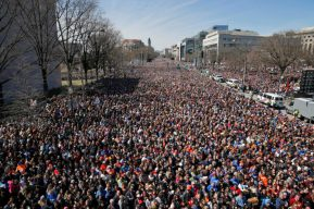 "The crowd fills Pennsylvania Avenue during the ""March for Our Lives"" rally in support of gun control, Saturday, March 24, 2018, in Washington. (AP Photo/Alex Brandon)"